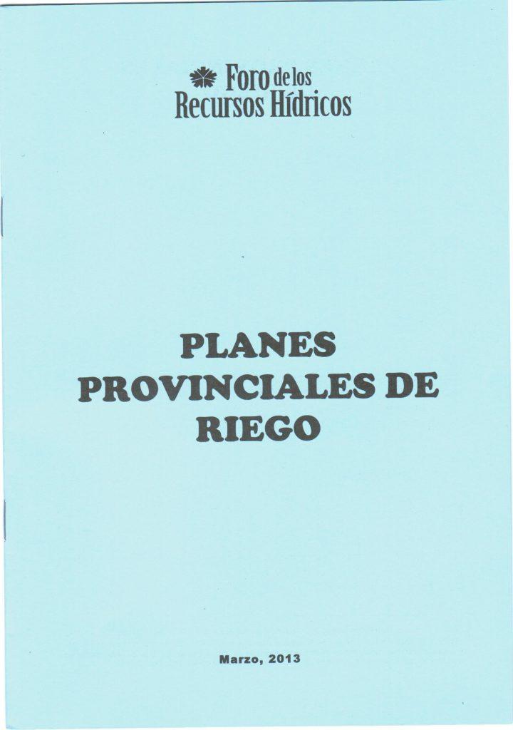 Planes provinciales de riego